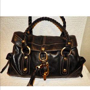 Francesco Biasia Black Leather Satchel Handbag